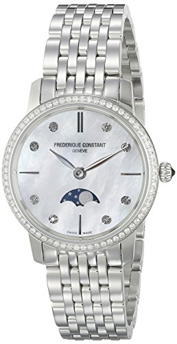 Frederique Constant Women's FC206MPWD1SD6B Slim Line Analog Display Swiss Quartz Silver Watch