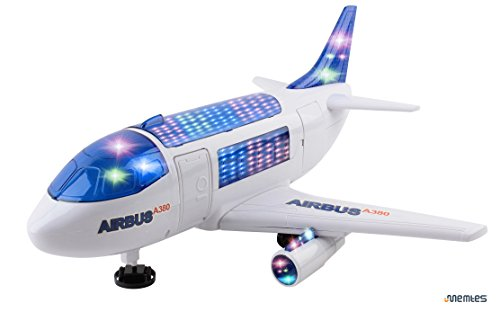 Memtes Electric Airplane Toy Airbus A380 with 3D Flashing Lights and Sound for Kids, Changes Directions on Its
