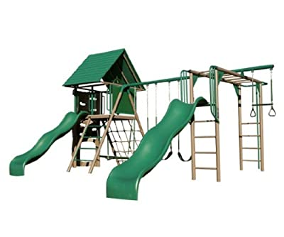 Lifetime Playground Play Set 90240 Deluxe Double Slide Playhouse Monkey Bars