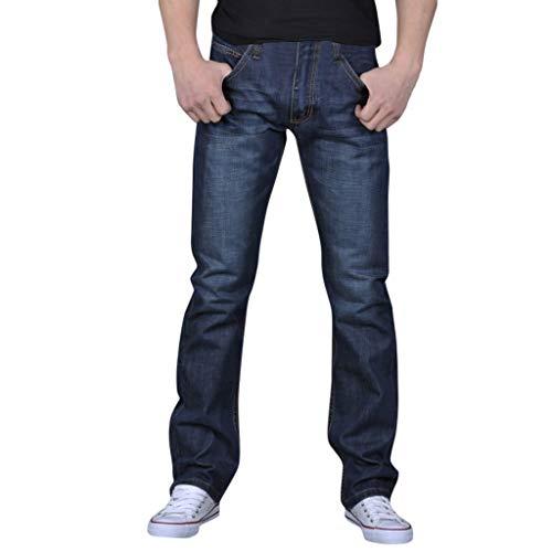Wash Hip Hop Work Trousers Jeans Pants Mens Pure Color Denim Cotton Vintage Blue