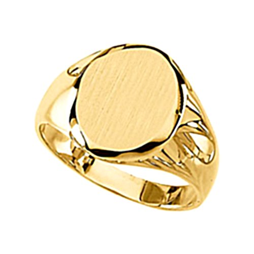 Men's 10k Yellow Gold Satin Brushed Solid Oval Signet Ring 13x11mm, Size 9