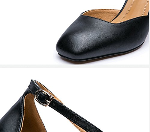 Dream Fashion 1 Word Buckle High Heels Elegant Thick With Roman Shoes (Color : Black, Size : 38)