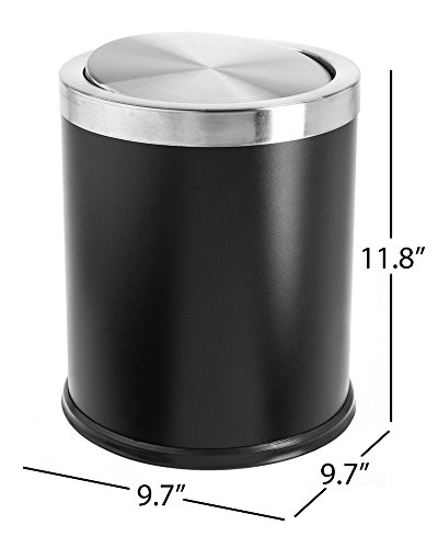 Bennett ''Swivel-A-Lid'' Trash Can, Small Office Metal Wastebasket, Modern Home Décor, Round Shape by Bennett