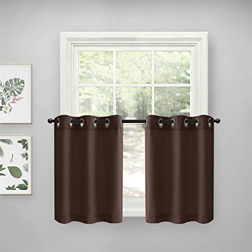 Lazzzy Kitchen Tier Curtains Grommet Top Casual Weave Privac