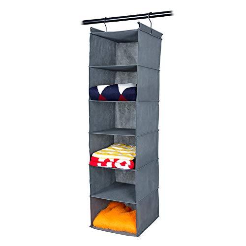 MAX Houser 6 Tier Shelf Hanging Closet Organizer, Cloth Hanging Shelf with 2 Sturdy Hooks,for Storage,Foldable,Grey
