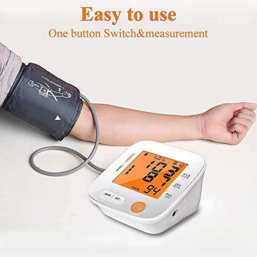 Blood Pressure Monitor Upper Arm, AlphagoMed Automatic Blood Pressure Monitor Large Cuff 9-17 inches, Digital Bp Cuff for Home Use,2 * 90 Memory Mode, Batteries and AC Adapter Included – FDA Approved