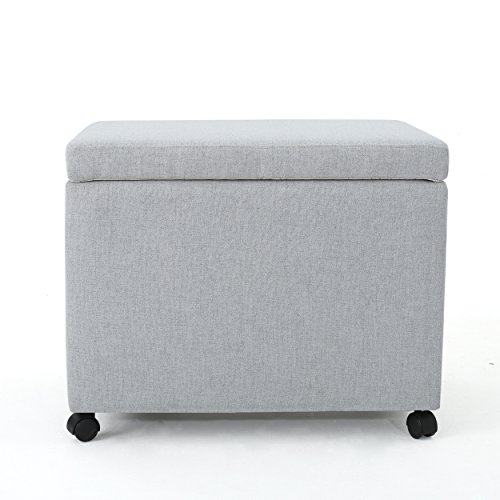 Price comparison product image Kimber Home Office Light Grey Fabric Filing Ottoman
