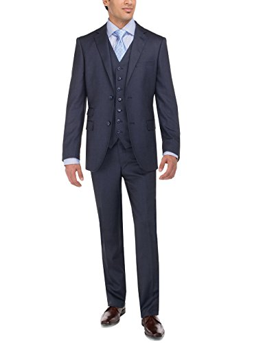(LN LUCIANO NATAZZI Men's Tweed Vested Suit Set Two Button Modern Fit Three Piece (48 Long US / 58 Long EU,)