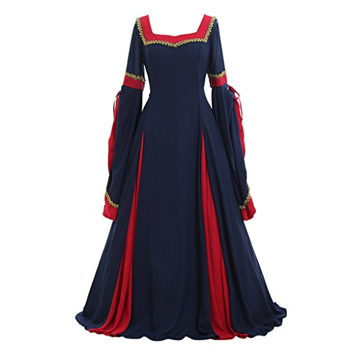 CosplayDiy Women's Guinevere Navy Blue-Bordeaux Victorian Dress Costume (Guinevere Medieval Costumes)