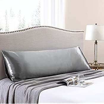 Love's cabin Body Pillow Cover, 20x54 inches Dark Grey Soft Satin Body Pillow case with Envelope Closure, Silky Slip Cooling Body Pillow Pillowcases for Hair and Skin