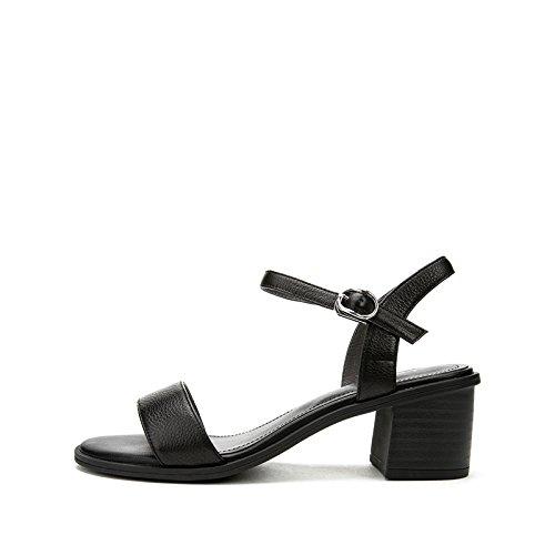 Pantofole con tacco Sandali basso casual Tacchi donna 38 DHG alti tacco Sandali Sandali piatti alla estivi moda Nero da a basso EBZPq