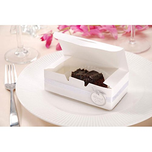 Small Cake Boxes & DOILIES, 24 White Small Cake Boxes with 24 Silver Seals & 36 White Lace Paper Doilies for Guest Favor (Small Wedding Cake)
