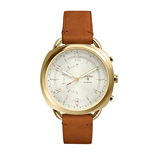 Nokia Outlet - Fossil Women's Accomplice Stainless Steel and Leather Hybrid Smartwatch, Color: Gold, Tan (Model: FTW1201)