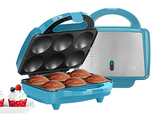Holstein Housewares HF-09013T Full Size Fun Cupcake Maker, Makes 6, Teal/Stainless Steel