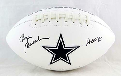 (Roger Staubach Autographed Football - Logo w HOF W Auth - JSA Certified - Autographed Footballs)