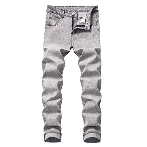 Jean Original Straight-Leg Personality Slim Fit Zipper Stretch Denim Trousers Men's (40,Gray)