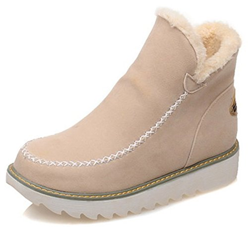 IDIFU Womens Warm Low Wedge Heel Faux Suede Pull On Round Toe Short Ankle High Boots Beige tr8gRfTjW