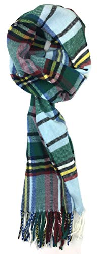 Plum Feathers Plaid Check and Solid Cashmere Feel Winter Scarf (Baby Blue-Mint Scottish Plaid)