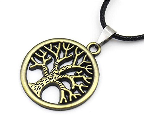 Vintage Style Black Leather Cord Charming Tree of Life Pendant Retro Choker For Womens Mens, Retro Hippy Tibetan Tree of Life Pendant Leather Collar for Valentine Gift Mother's Day Anniversary