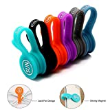SUNFICON Cable Organizer Cable Clips Magnetic Ties Straps Cord Management Wire Holder System Refrigerator Magnets,6 Pack Earphone Cable Winder for Home,Office,School, Car, Nightstand, Desk Accessories