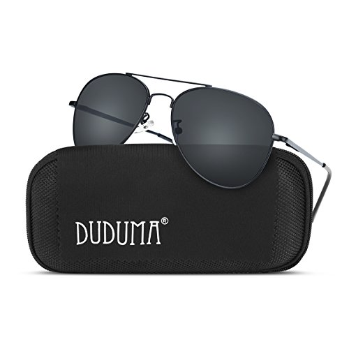 Duduma Premium Classic Aviator Sunglasses with Metal Frame Uv400 Protection(Black frame/smoke lens(not mirrored lens) - Sunglasses For Pilot Men
