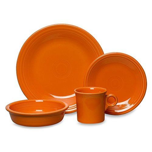 Fiesta 16-Piece, Service for 4 Dinnerware Set, Tangerine