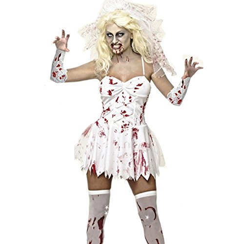 [ZNFQC Women Zombie Ghost Bride Halloween Costume Bloodstain Dress (L)] (Holloween Spirits Costumes)