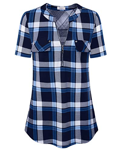Ca Kra Short Sleeve Tunics Tops Long Shirts for Women Zip Up V-Neck Work Blouse