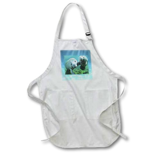 3dRose apr/_39647/_1 2 Manatees Looking at You Full Length Apron with Pockets White 22 by 30-Inch