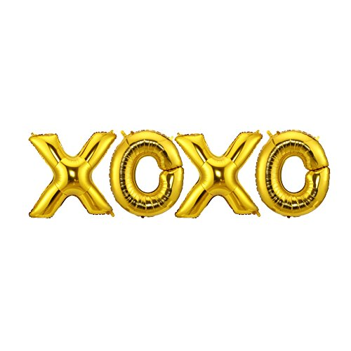 (LOKIPA 40inch Jumbo Gold Aluminum Foil Balloons Letters Balloons XOXO Balloons Banner for Wedding Party Engagement Party Decoration)