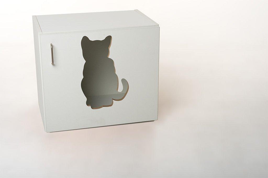 Katzenschrank Nyanko Sonderedition mit Liegekissen Katzenklo Katzentoilette incl. Kunststofftoilette und Streuschaufel B / H / T 60 x 53,5 x 41 cm