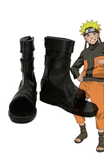 (NARUTO Anime Uzumaki Naruto Ninja Cosplay Shoes Boots Custom Made Black)