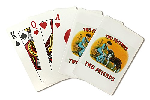 Two Friends Brand Cigar Inner Box Label - St. Bernard (Playing Card Deck - 52 Card Poker Size with ()