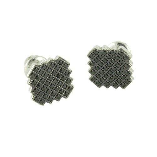 apop nyc Sterling Silver Black Pave CZ Screw-Back Stud (Etruscan Style Earrings)