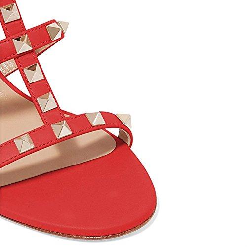 13 Sandalit 5cm Kärki 5 Puku Punainen Dia Pumput Avoin Lohko Nastoitettu Paksu Alhainen Korkokengät Nastojen Tohveli Naisten Chris t BfaR8R