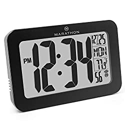 Marathon CL030033BK Commercial Grade Panoramic Atomic Wall Clock with Table Stand - Batteries Included, Color-Black.