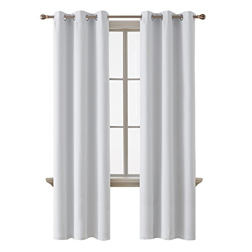 (Deconovo Room Darkening Thermal Insulated Blackout Grommet Window Curtain Panel for Bedroom, Greyish White, 42x84 Inch, 1 Panel)
