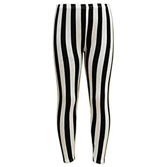 Amazon.com: Girls Legging Kids Black & White Vertical Stripes ...