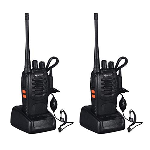 Baofeng Walkie Talkies Rechargable Long Range Walkie Talkie for Adults Two Way Radio Set 16 Channel 5 km Range 400-470MHz Handheld Walky Talky Transceiver with Batteries Earpiece (Pack of 2)