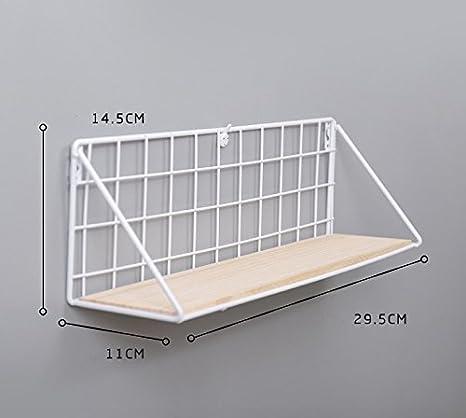 Small 29cm, White Easy Chic Industrial Metal Wire Wood Wall Shelf Modern Loft Dorm Storage Shelf Black White Natural