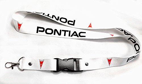(Pontiac White Lanyard Red Logo Black Imprint 1 inch x 22 inch Key Chain ID Badge Card Holder Hanger)
