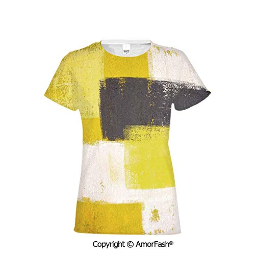 (PUTIEN Women's Summer Casual T Shirt Dresses Short Sleeve,Grey and Yellow,Abstract Grun)