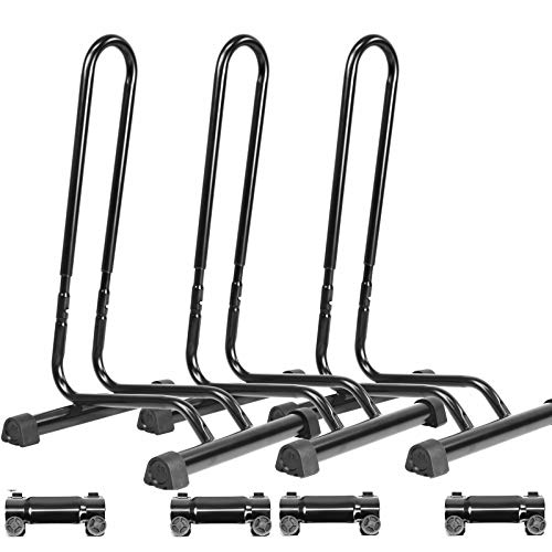 CyclingDeal Adjustable 3 Bike Floor Parking Rack Indoor Home Storage Garage Bicycle Rack Stands - Great for Mountain Road Kids Hybrid Bikes