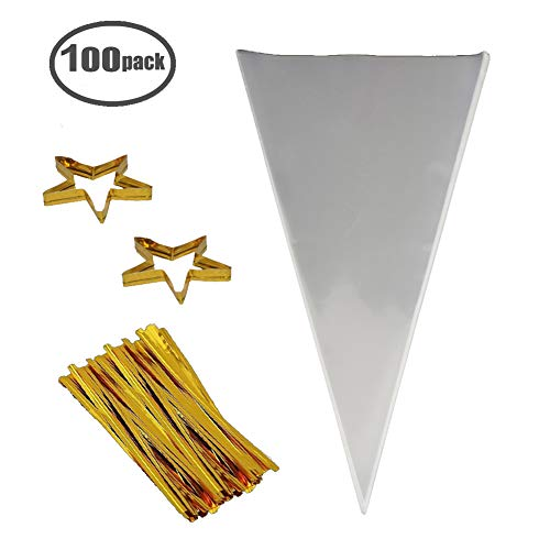 "(Clear Cone Bags 100PCS Cellophane Triangle Clear Treat Bags with Gold Twist Ties for Favor Christmas Candy Popcorn Handmade Cookies Sweets Crafts 14.5"" by)"