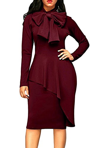 MS Mouse Womens Tie Neck Peplum High Waist Long Sleeve Bodycon Dress Wine Red Large (Waist Peplum Dress)