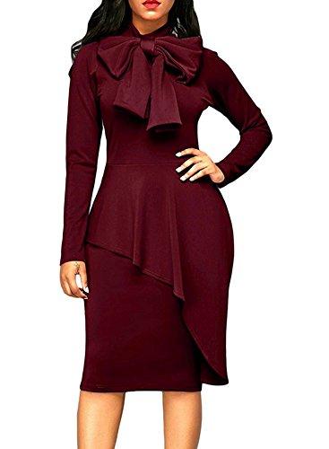 MS Mouse Womens Tie Neck Peplum High Waist Long Sleeve Bodycon Dress Wine Red Large (Dress Peplum Waist)