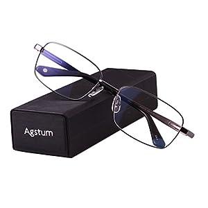 Agstum Titanium Full Rim Glasses Frame Optical Eyeglasses Rxable (Grey, 56)