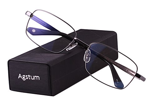 - Agstum Titanium Full Rim Glasses Frame Optical Eyeglasses Rxable (Grey, 56)