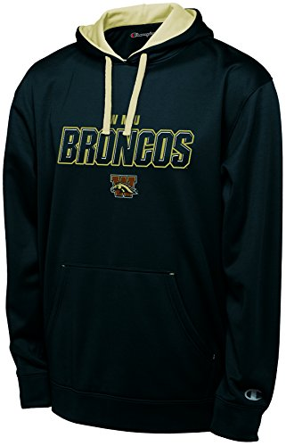 (Champion NCAA Western Michigan Broncos Adult Men Pullover Hood with Contra, Large, Black )