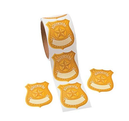 Sticker Badges - Fun Express Police Badge Name Tag Stickers Roll of 100 School Party Supplies